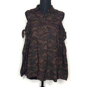 Women's camo open shoulder button up